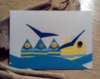 Beach hut card
