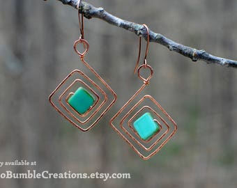 Handmade Jewelry: Copper Earrings, Hammered Copper Wire in a Square Spiral with Turquoise Glass Beads