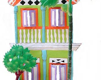 Metal Art, Painted Metal Hook, Caribbean Art, Design, Wall Hook, Metal Wall Art, Gingerbread House, Wall Hook, Tropical Decor, K-1000-GR