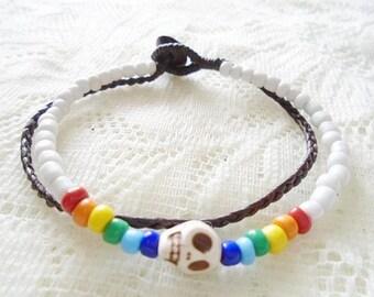 Howlite skull double strands bracelet, Skull bracelet