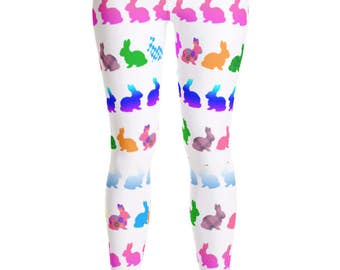 Easter Leggings - Bunny Leggings - Bunny Rabbit print Leggings - Yoga Leggings - Patterned Leggings  - Rabbit costume - Yoga Shorts