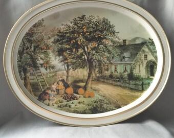 Gold Tin Tray // Decorative Tray  // Gold Home Decor // Vintage Tray // Tin Tray // Gold Vintage Tray // Pumpkin Decor (B8)