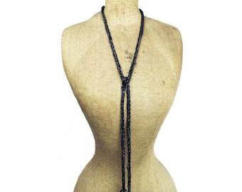 Art Deco Flapper Necklace, Black Lariat Necklace, Black Glass Bead Necklace, Long Black Bead Necklace, Black Sautoir, Black Necklace