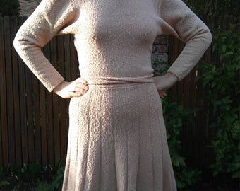 1940s pale pink pleated wool knit sweater dress // medium
