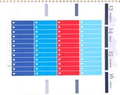 Colorful Headers/Thin Labels with Heart (PATRIOTIC Colors) Reminder Stickers Erin Condren Planner Mambi Personal Kawaii Cute Red White Blue