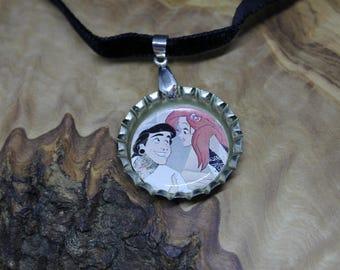 Disney punk princess bottle cap Charm Choker Necklace *ARIEL/ and Eric*