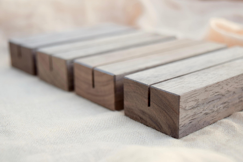 Wood Table Number Holders Set Walnut Wood Wedding Table