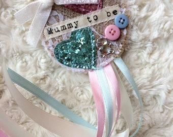 Baby shower rosette pink and blue - neutral boy or girl, mummy to be shabby chic vintage handmade