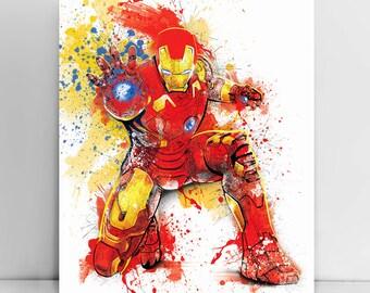 Iron Man, Tony Stark, Marvel Comics, The Avengers, Man of Steel, Superhero, Iron man watercolor, Iron man Poster, Drawing, by JAnoveltyMovie