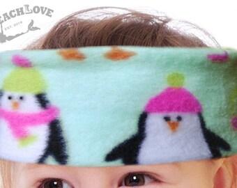 Penguin, Toddler, Baby, Fleece Headband, Ear Warmer, Warm Toddler Fleece, Earmuffs, Infant, Mint green, Penguin hats, Boy or Girl, Unisex