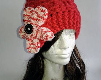 Red flower knitted hat