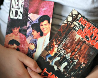 Two NKOTB VHS, New Kids On The Block live show, Haggin tough live, Step By Step, 80s music, Boy band, 80s kids, kids gift, 90s kids