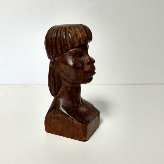 Wood sculpture bust dark carving african decor