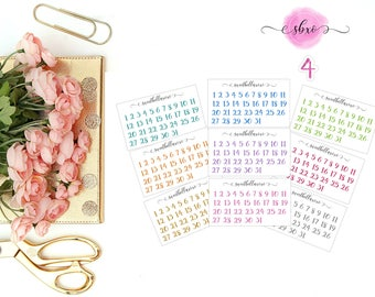 Date Cover Numbers Planner Stickers / Monthly Date Cover Numbers  / Date Cover / ECLP