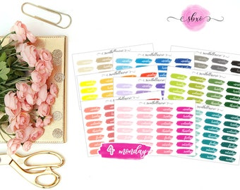 Full Set Date Cover Planner Stickers  / Brush Stroke Date Covers / Date Cover / ECLP