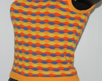 Vintage multicolour sleeveless sweater Size 34-36 FR