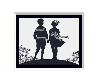Young Love Silhouette Cross Stitch Pattern, PDF Digital Download Counted Cross Stitch Chart (P-095)