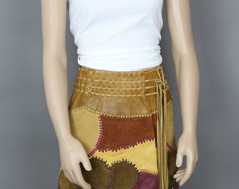 RARE 60s 70s CHAR PATCHWORK whipstitch tan brown burgundy leather suede wrap skirt
