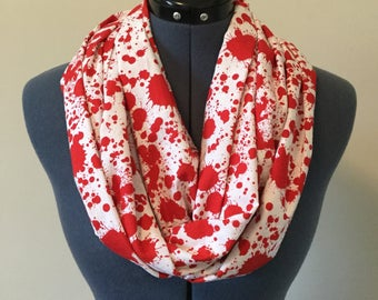 Blood Spatter Infinity Scarf / Blood / Scarf / Red / White / Infinity Scarf / Horror / Zombie / Vampire / Apocalypse / Goth / Gift / Cosplay