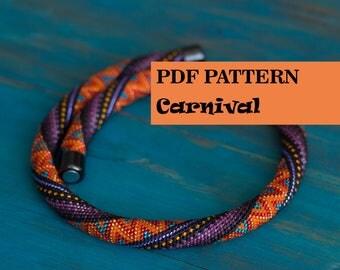 PDF pattern for beaded crochet necklace - Seed beads crochet rope pattern - Orange Purple Black colorful necklace - Geometric Zigzag pattern