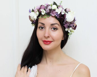White peony Purple lilac flower crown Bridal hair wreath Wedding halo Flower headband Boho floral crown Floral accessories