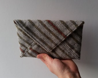 Medium Envelope Pouch in Handwoven Lambswool with Liberty Print Lining