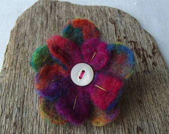 Flower Brooch - Handmade, Wet Felted