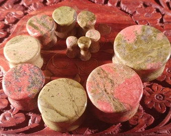 Pair of Unakite Plugs (25mm, 22mm, 19mm, 16mm, 14mm, 12mm, 10mm, 8mm, 6mm, 5mm, 4mm)