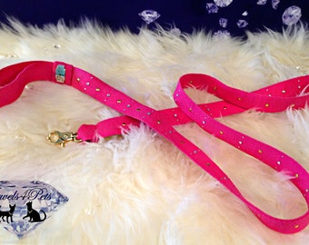"Jewels4Pets dog leash ""Pink Passion"" webbing nylon pink rhinestone studs unique dog leash handmade designer dog leash strass"