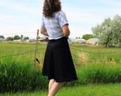 Skirt - A-line Skirt - Modest Skirt - Knee Length - Black Jean Stretch - Jean Skirt - Custom Made -Black Denim Stretch - Elastic Waistband