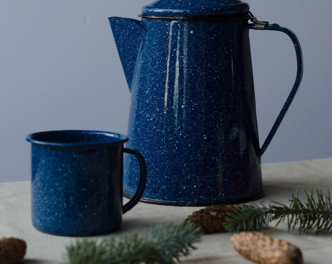 Vintage Enamel Coffee pot and mug