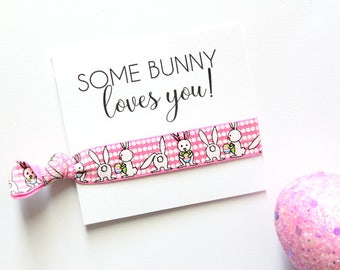 Easter Hair Tie | Some Bunny Loves You Elastic Hair Tie | Easter Gift | Easter Basket Gift | Bunny Shower | Bunny Gift | Easter Favors