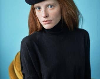 french beret, black beret, black hat, rabbit fur felt hat, fur felt beret