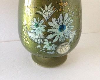 Vintage 1960's Sascha Btastoff Enamel On Copper Goblet-Style Pedestal Vase/Mid-Century Modern Decor/-Artist Signed--Blue Flowers On Green