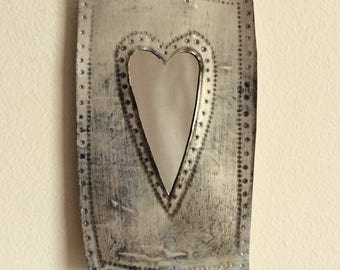 Small hand-stamped, recycled tin heart mirror