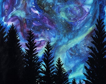Northern Lights, Starry Night Sky, Silhouettes of Fir Trees Painting