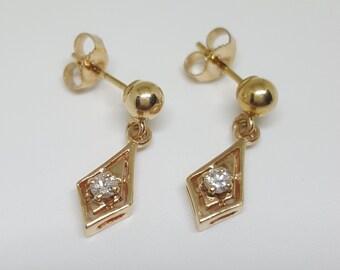 Vintage 14k Gold Diamond Dangle / Drop Earrings