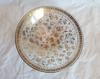 Georges Briard Persian Garden Pattern Glass Bowl with Gold Accents 1960s