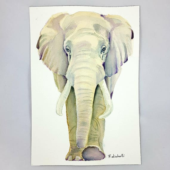 Elephant painting, original watercolor, ooak, gift idea for birthday, wall art, home office decoration, living room art, child's bedroom.