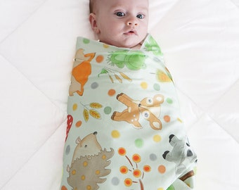 Organic Baby Blanket, Woodland Baby Blanket, Organic Receiving Blanket, Handmade Animal Friends Blanket, Baby Shower Gift, Soft Baby Blanket