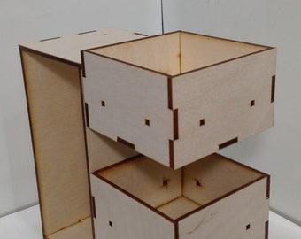 Small Modular Cube Organization Blocks Laser Cut 3x6x3