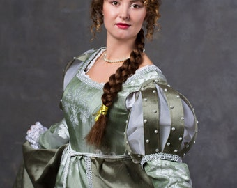 Historical mint color Princess dress Medieval gown late 15th century women dress Borgia style !!!ONLY TO ORDER!!!