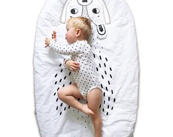 BEAR BLANKET & Play Mat / baby floor mat / Rug / Nursery Decor / Handprinted