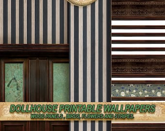 Miniature Dollhouse Wallpaper, decorative molding, wood panel . VICTORIAN STEAMPUNK GOTHIC . tutorial .Repeating  patterns . dowload . 1:12