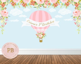 Digital Hot Air Balloon Backdrop, Up Up & Away Backdrop, First Birthday Backdrop, Hot Air Balloon Birthday, Hot Air Balloon Baby Shower