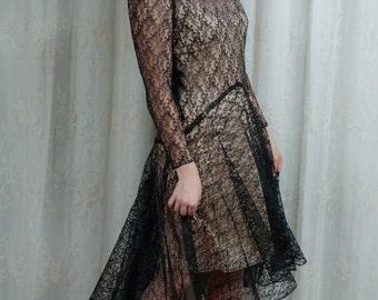 1940s Black Lace Dress - Small
