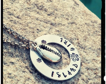 Island Girl - Hand Stamped Necklace - Silver Cowrie Shell//Aluminum Disc//Stainless or Silver Chain//Hibiscus Flower - Gift for Her/Surfer