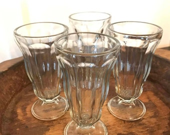Vintage Anchor Hocking Clear Glass Tall Parfait or Ice Cream Sundae Glasses Set of 4 | Soda Fountain Glassware