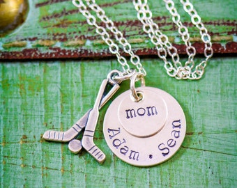 Hockey Gift • Sports Necklace Hockey Mom Necklace Sterling Silver Hockey Jewelry • Roller Hockey Name Team Ice Hockey Team Gift