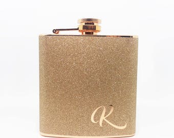 Personalized Monogrammed Initial Glitter Copper Stainless Steel 6 oz Liquor Hip Flask- Gifts, Bridesmaids, Birthday, Wedding Favor BF-F1025